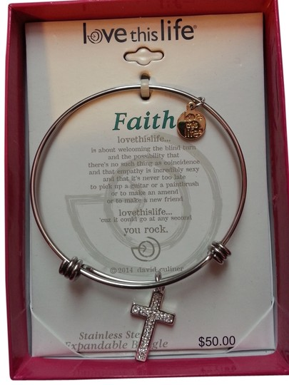 Love This Life Stainless Steel Cross Bangle