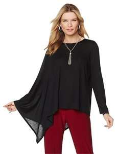 Slinky Brand Slinky Poncho Asymmetical High Low Womens Top Black