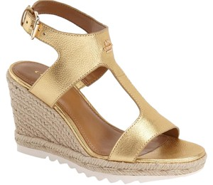 Coach Sandals Gold Wedges