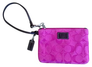 Coach Signature Jacquard Collection Casual Wristlet in Pink & Brown