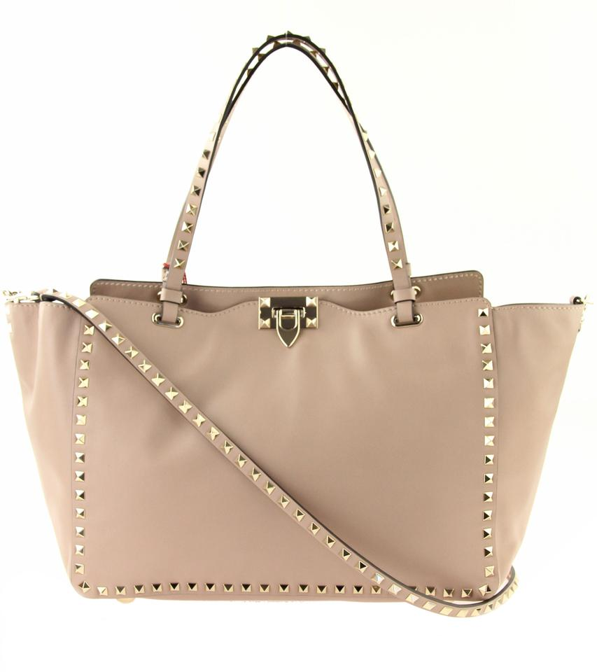 05a5f4a58478 Valentino Rockstud Smooth Leather Leather Tote in Pink Image 0 ...