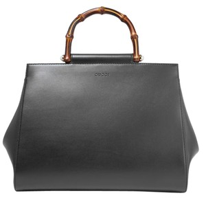 Gucci Nymphea Top Handle Leather Tote in black