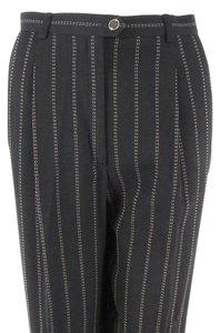 Escada Women Wool Dress Stripped Trouser Pants Black With Light Beige Pinstripes
