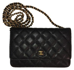 Chanel Woc Caviar Gold Black Cross Body Bag
