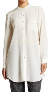 Eileen Fisher Button Down One Pocket Button Down Shirt Bone