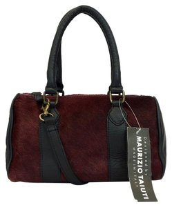 Maurizio Taiuti Pony Hair Convertible Leather Trim Satchel in Red