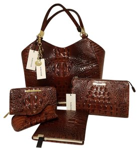 Brahmin 6 Piece Set Wallet Brown Leather Tote in Pecan-Brown