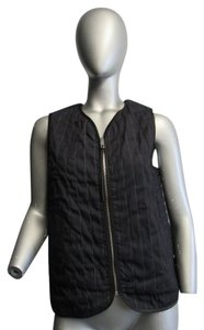 Rag & Bone Lace Quilted Vest Top Black and Navy