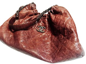 Chanel Quilted Leather Boredeaux Silver Shoulder Bag