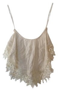 Cotton Candy LA Crop Strapless Lace Trim Rayon Top White