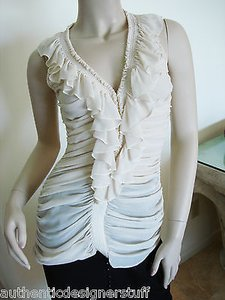 Temperley London Temperley Silk Ruffle Top Beige