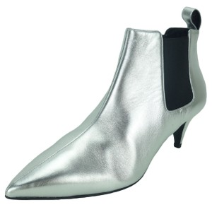 Gucci 370449 Ankle Leather Metallic Silver Boots