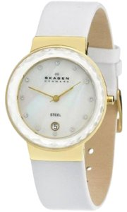 Skagen Denmark White Leather Band White MOP Dial Gold Case Womens Watch SKW2033