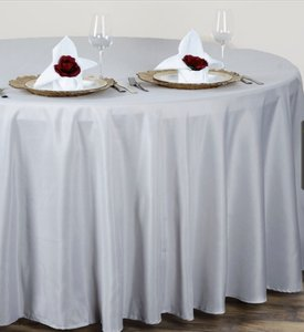 Light Silver/Gray Excellent Condition Used 120 Inch Round Silver/Gray Tablecloth