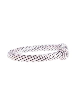David Yurman Yurman Diamond & Prasiolite Sterling & 18K 7mm Cuff Bracelet (110864)