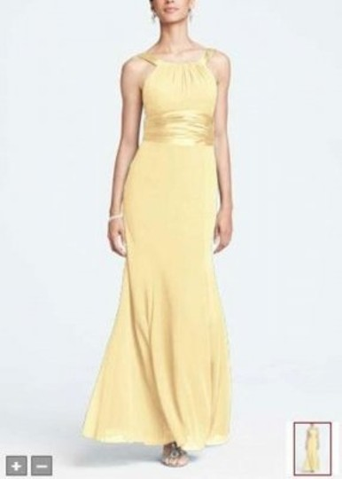 David's Bridal Yellow F12732 Formal Bridesmaid/Mob Dress Size 6 (S)
