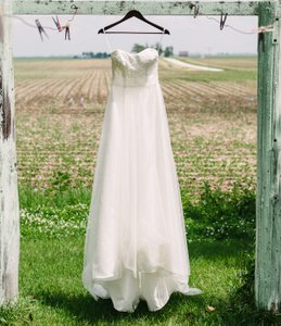 David's Bridal Strapless A-line Beaded Lace Tulle Wedding Dress, Style 9wg3586 Wedding Dress