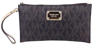 Michael Kors Signature Monogram Clutch Pvc Envelope Wristlet in Brown