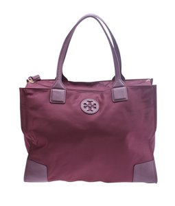 Tory Burch Leather Nylon Tote in Burgundy