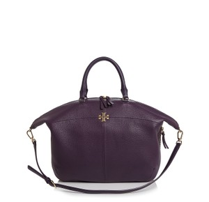 Tory Burch Ivy Slouchy Leather Satchel in Nightshade Purple