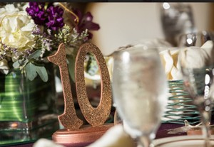 Rose Gold Table Numbers 1-15 Glitter