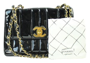 Chanel Patent Leather Chevron Vertical Jumbo Maxi Shoulder Bag