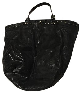 ginnette ny Scored Tote in black leather