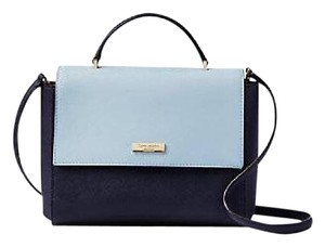 Kate Spade Rose Paterson Crossbody Satchel in Navy & Light Blue