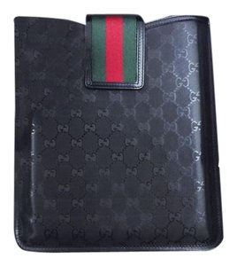 Gucci GUCCI GG IMPRIME GUCCI 500 BLACK LOGO WEB IPAD CASE NEW IN BOX