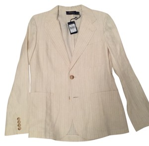 Polo Ralph Lauren New Tags Cream with Blue Pinstripe Blazer