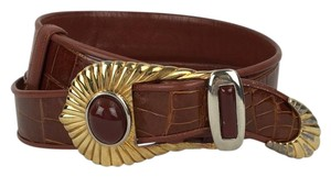 Judith Leiber Judith Leiber Brown Croc Belt with Gold Buckle
