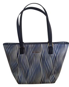 Vera Bradley Wavy Stripe Zebra Print Blue Shoulder Bag