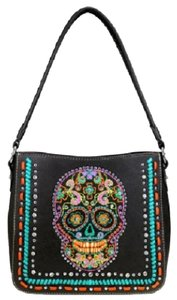 Montana West Sugar Skull Embroidered Hobo Bag