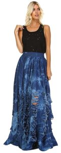 TOV Holy Distressed Maxi Skirt Denim