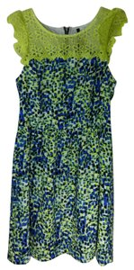 Kensie short dress Blue, Black, Green Printed Navy Cap Sleeved Lace Trim on Tradesy