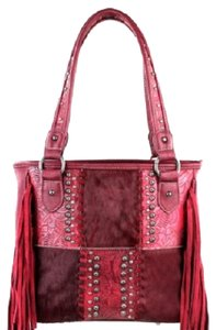 Montana West Conceal Pocket Genuine Leather Hair-on-hide Fringe Tooled Leather Satchel in Red
