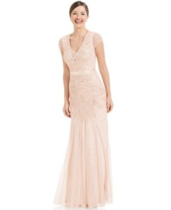 Adrianna Papell Blush Adrianna Papell Cap-sleeve Embellished Gown Dress