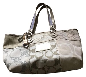 Coach Satchel in cream with gold and silver