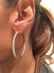 Local Jeweler 14K whit Gold 1 .5 CT / inside and out Real Diamond Earings