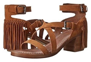 Belle by Sigerson Morrison Fringe Block Heels Boho tan Sandals