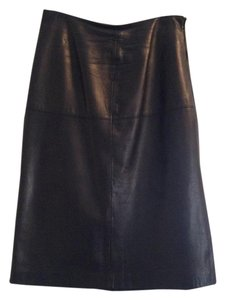 Shin Choi A-line Size 6 Skirt Black Leather