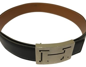 Hermès HERMES BELT WITH A LUCKY SHADOW BUCKLE BRUSHED IN SILVER