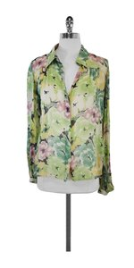Winter Kate Green Floral Button Up Silk Shirt Top Multi