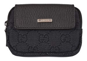 Gucci GUCCI 217049 BLACK GG LOGO MINI ZIP COIN PURSE WALLET