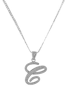 Other Letter C Cursive Initial CZ Pendant .925 Sterling Silver