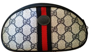 Gucci Classic Vintage Gucci Striped Cosmetic Pouch Clutch