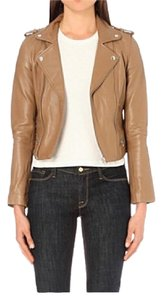 Maje Brand New Leather Brown Camel Leather Jacket