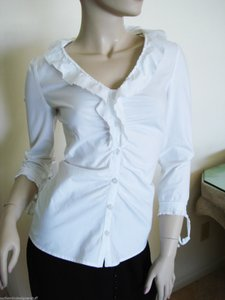 Philosophy di Alberta Ferretti Blouse Ruffled Blouse Cotton Blouse Ruffles Button Down Shirt White