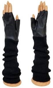 Other Black Gloves Knitted Leatherette Fingerless Arm Warmer