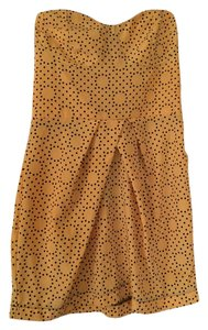 Wish short dress Gold/Black Strapless Polka Dot on Tradesy